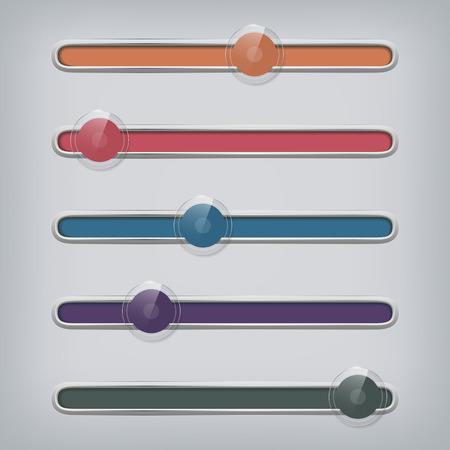 internet buttons: Set of modern glossy web sliders - rollovers. Vector illustration. Illustration
