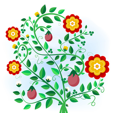 foliage  natural: Abstract plant with flowers, buds and fruits - vector illustration Illustration
