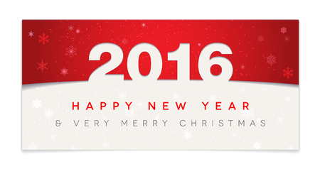 new year: Red Happy New Year 2016 and Christmas card - vector illustration