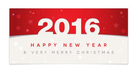 nowy rok: Red Szczęśliwego Nowego Roku 2016 i karty Christmas - ilustracji wektorowych