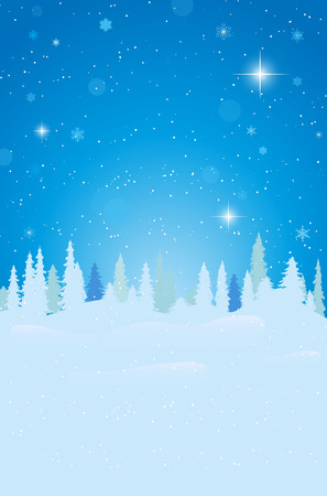 snow forest: Abstract winter landscape with snow, forest and starry night sky - vector illustration Illustration