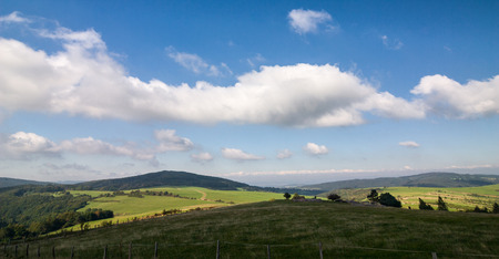 grassfield: Summer landscape with green fields and blue sky - White Carpathian Mountains, Czech Republic, Europe