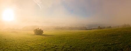atmospheres: Atmosphere at sunrise on mountain pasture - panorama