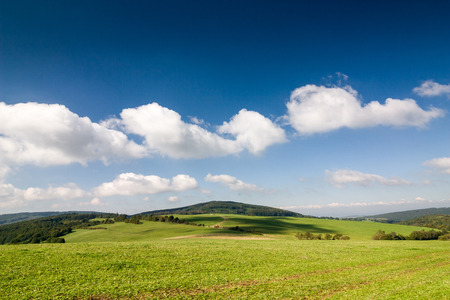 czech: Amazing summer countryside with green pasture and blue sky with clouds - Czech Republic, Europe