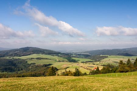 grassfield: Beautiful summer landscape under blue sky with clouds - White Carpathian Mountains, Czech Republic, Europe