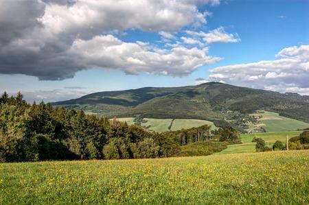 paisaje rural: paisaje de verano con la floración prado y cielo azul con nubes blancas - White Cárpatos, en la frontera checo-eslovaca, Europa