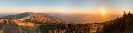 quiet: Panorama of amazing sunrise on mountain ridge - Greater Fatra National Park, Slovakia, Europe Stock Photo