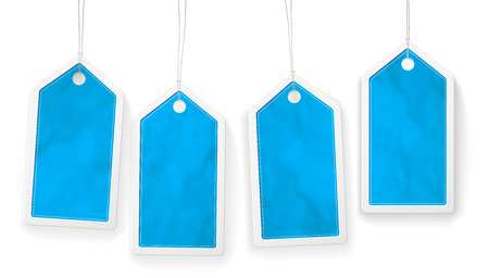 paper tags: Set of four blue paper price tags with structure and place for your text - vector illustration