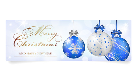 Merry Christmas And Happy New Year Card With Balls, Shines And ...