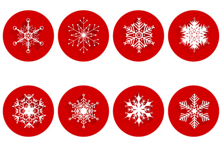 stickies: Set of abstract snowflakes with long shadow on red circle stickies - isolated on white background. Vector illustration.