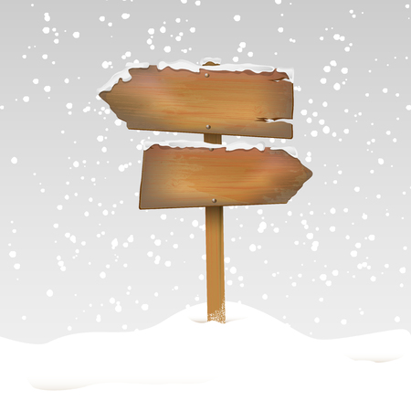 wood panel: Snowy wooden signpost in winter landscape with place for text - vector illustration