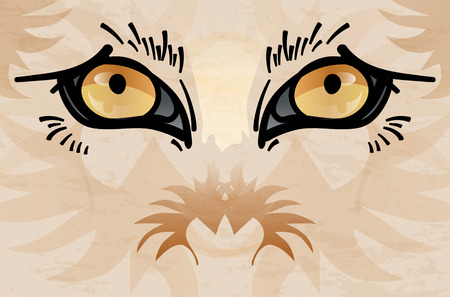 animal eyes: Detail of abstract wild animal face with eyes - vector illustration