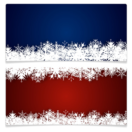 christmas graphic: Two christmas cards with abstract snowflakes and place for your text - isolated on white background. Vector illustration.