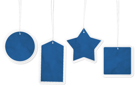 Collection of four different blue paper price tags with structure and place for your text - isolated on white background. Vector illustration. 일러스트