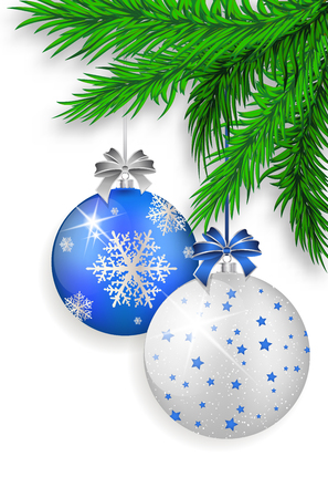 Twigs: Blue and silver Christmas balls with shadows hanging on green spruce twig - isolated on white background. Vector illustration.