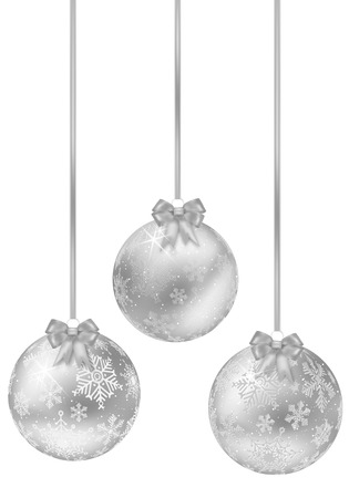 silver balls: Set of shiny silver christmas balls with bow - isolated on white background. Vector illustration. Illustration