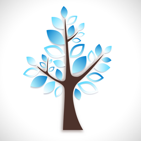 white winter: Abstract tree on white background - winter natural motive. Vector illustration.