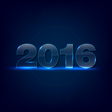 blue backgrounds: Gleaming glass inscription 2016 on dark background - greeting card for New Year 2016 - place for text. Vector illustration. Illustration