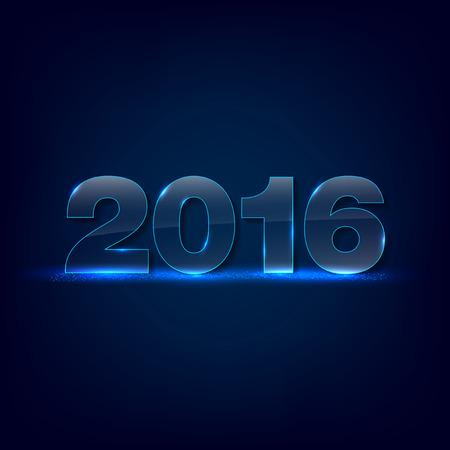 fondos azules: Relucientes inscripci�n vidrio 2016 en fondo oscuro - tarjeta de felicitaci�n de A�o Nuevo 2016 - el lugar de texto. Ilustraci�n del vector. Vectores