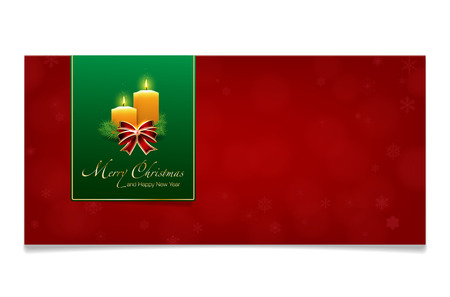 red christmas background: Red Merry Christmas and Happy New Year card with candles, spruce, ribbon, bokeh, abstract snowflakes, shadows and place for your text - isolated on white background. Vector illustration. Illustration