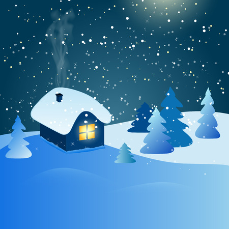 snow forest: Abstract winter landscape with house, snow, forest and starry night sky - vector illustration Illustration