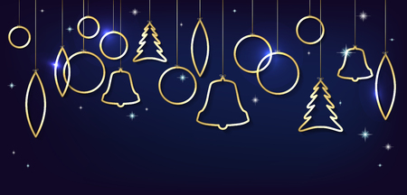 gold christmas background: Christmas card with abstract shiny golden christmas balls, stars and place for your text - vector illustration Illustration