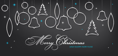 christmas balls: Merry Christmas and Happy New Year card with abstract shiny silver christmas balls and stars - vector illustration