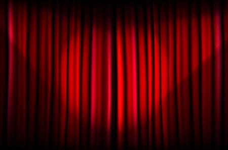 cortinas rojas: Antecedentes de la cortina roja con haces de luz - ilustración vectorial