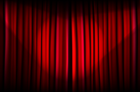 light beams: Background from red curtain with beams of light - vector illustration Illustration