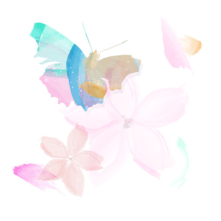 Abstract butterfly and flowers - watercolor style. illustration.