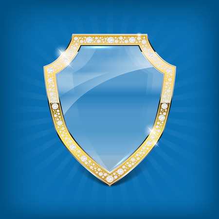 iron defense: Glass shield with gold frame and diamonds on blue background - illustration.