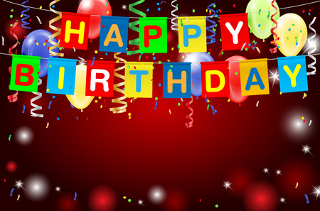 copy text: Happy Birthday party background with lights, confetti, inflatable balloons and place for your text. illustration.