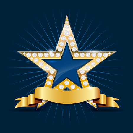 blue ribbon: Shiny golden star with diamonds and blank ribbon for your text on blue background - illustration