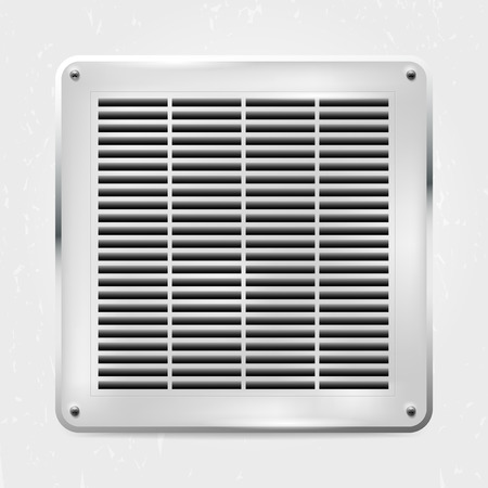air condition: Metal ventilation grille on the wall - illustration