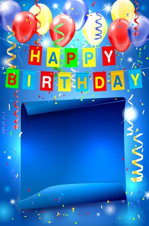 Fondo feliz de la fiesta de cumpleaños con las luces, confeti, globos inflables y papel doblada para su texto. ilustración.