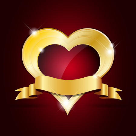golden heart: Abstract shiny golden heart with ribbon - Valentines Day card - illustration Illustration