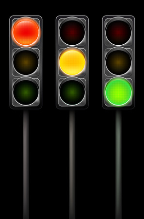 traffic pole: Traffic light in three lights positions on metal pole - black background - illustration
