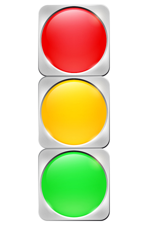 Brushed metal background with glossy circle buttons - Abstract traffic light. Isolated on white - vector illustration.