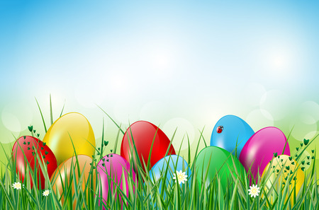 Easter background with easter eggs, grass, ladybug and flowers. Vector illustration.