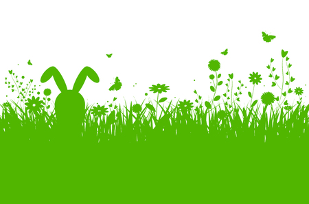 Spring silhouette easter background with abstract grass, flowers, bunny and butterflies - vector illustration Stock Illustratie