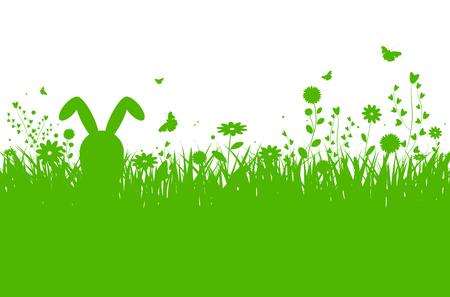 Primavera silhouette sfondo di Pasqua con erba astratta, fiori, coniglietto e farfalle - illustrazione vettoriale