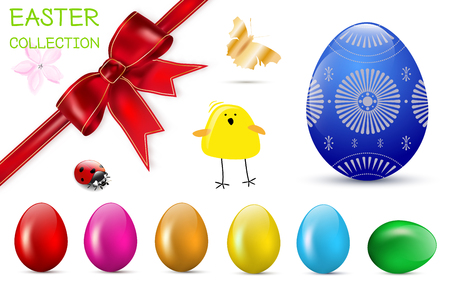 collection red: Easter spring collection - glossy easter eggs, red bow, flower, ladybug, chicken, butterfly. Vector illustration.