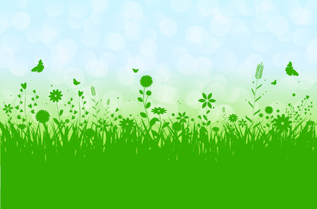 grassfield: Spring silhouette vector illustration with abstract grass, flowers and butterflies. Bokeh background and place for your text. Illustration