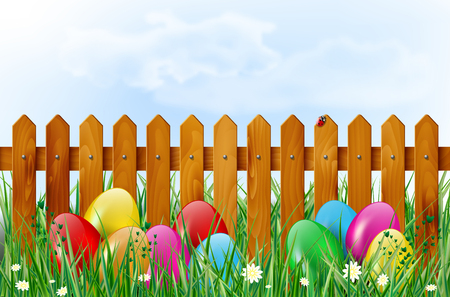 easter eggs: Easter background with easter eggs, wooden fence, sky, grass, and flowers. Vector illustration. Illustration
