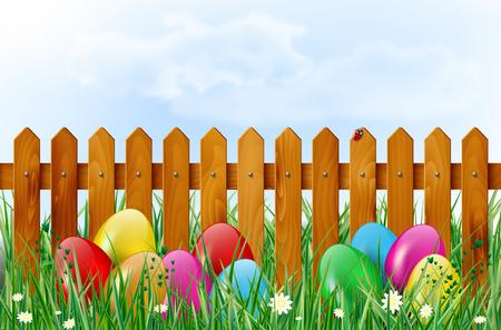 huevos de pascua: Fondo de Pascua con huevos de pascua, cerca de madera, cielo, hierba y flores. Ilustración del vector.