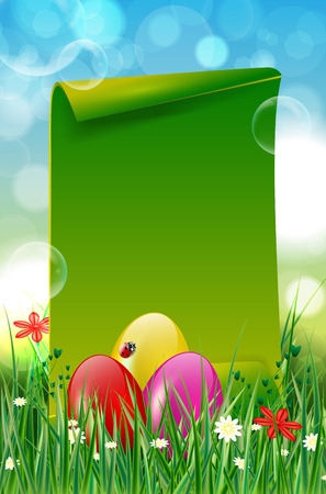 Easter background with easter eggs, grass, flowers and green blank paper for your message. Vector illustration.