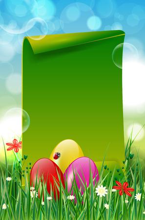 Sfondo di Pasqua con le uova di Pasqua, erba, fiori e verde, carta bianca per il tuo messaggio. Illustrazione vettoriale.