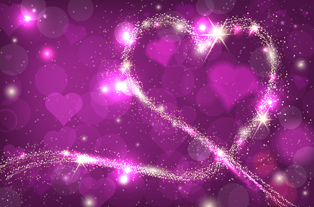 hearts background: Blurred bokeh background with purple sparkle heart