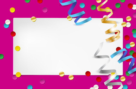 to place: Paper invitation and confetti - party background with place for your text. Vector illustration. Illustration