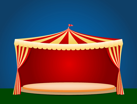 tent vector: Circus tent with blank podium for your object or text - vector illustration Illustration
